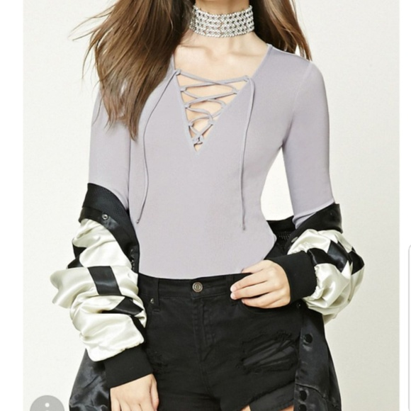 83e3a27eda F21 Ribbed tie up long sleeve BodySuit. M 5ba861bdaa87702d60f2feeb